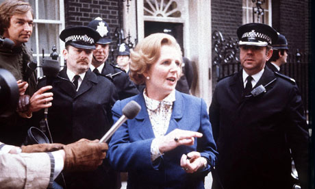 Margaret Thatcher outside 10 Downing Street in 1979.
