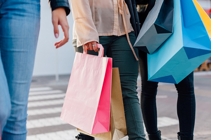 Closeup of girls with shopping bags
