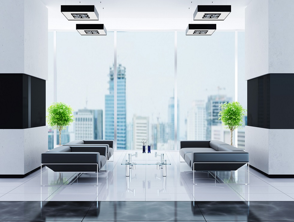 Modern interior of an office reception in high rise building