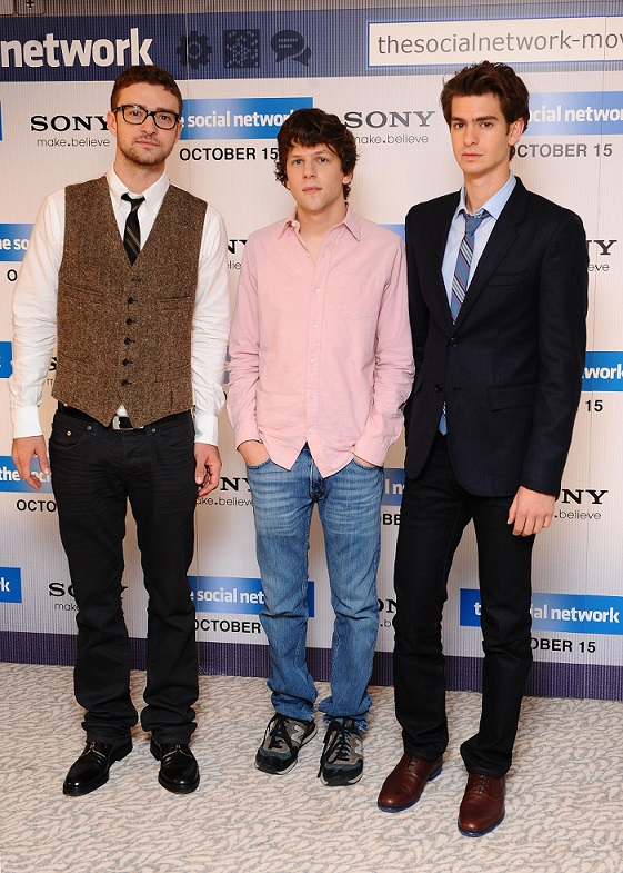 (left to right) Justin Timberlake, Jesse Eisenberg and Andrew Garfield at a photocall for new film The Social Network at the Dorchester in London
