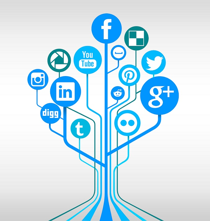 A tree of Social media networks at each branch