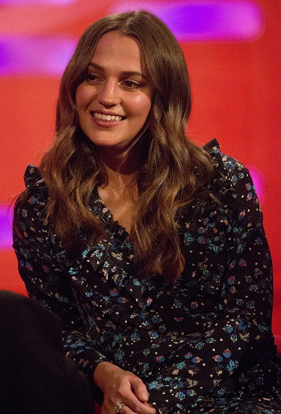 Alicia Vikander during filming of the Graham Norton Show at The London Studios, to be aired on BBC One on Friday.