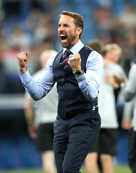 England manager Gareth Southgate celebrates their win after the final whistle during the FIFA World Cup Group G match at The Volgograd Arena, Volgograd.