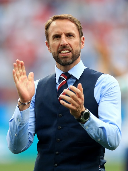 England manager Gareth Southgate reacts after the final whistle during the FIFA World Cup Group G match at the Nizhny Novgorod Stadium.