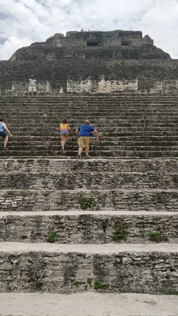 Lots of steps leading up to the site of the Mayan ruins