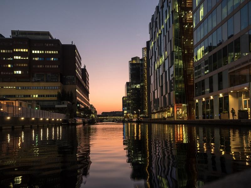 iverside Modern Buildings Paddington at sunset