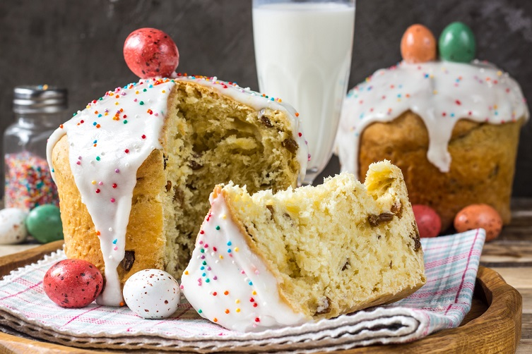 Easter composition with traditional Russian Easter bread kulich